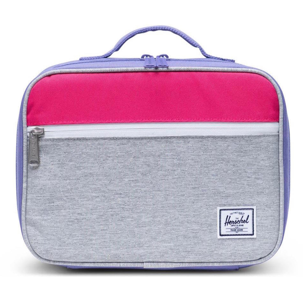 Light Grey Crosshatch/Raspberry Pop Quiz Lunch Bag