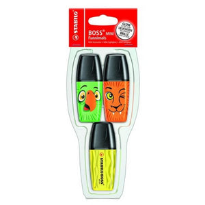 Stabilo BOSS Mini Funnimals Highlighters - pack of 3 colour