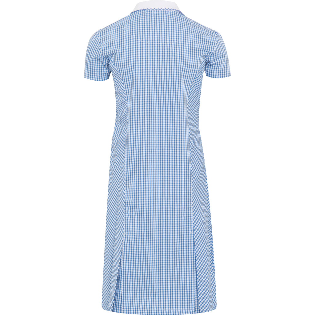 Light Blue Zip Fronted Corded Gingham Summer Dress