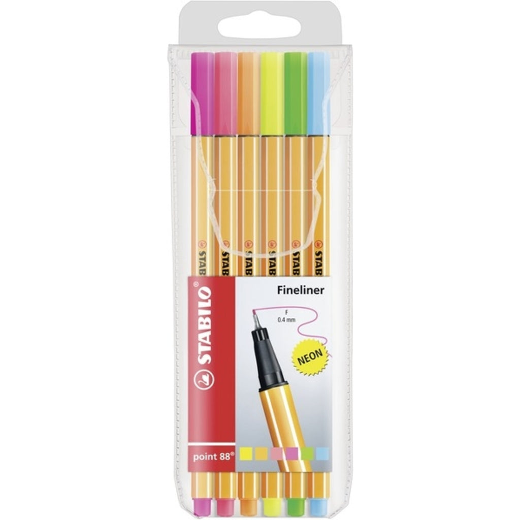 Stabilo point 88 fineliner - wallet of 6 Neon colours
