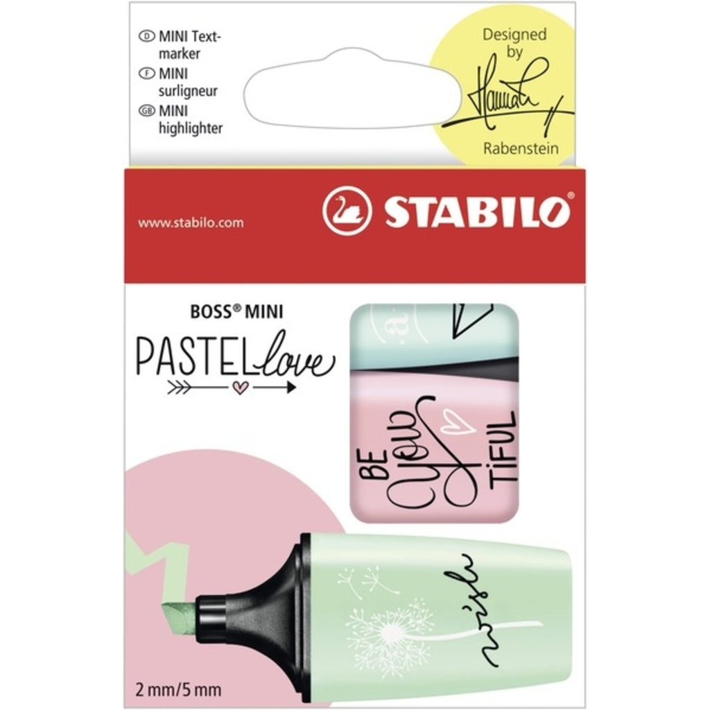 Stabilo BOSS Mini Pastel Highlighters - pack of 3 colour