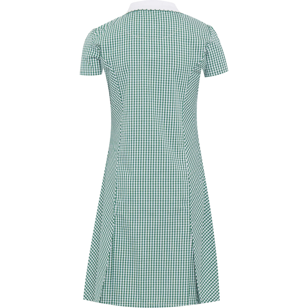 Bottle Green Zip Fronted Corded Gingham Summer Dress