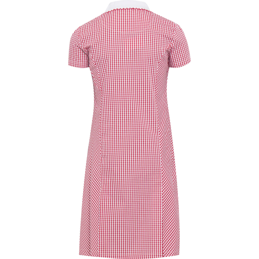 Red Zip Fronted Corded Gingham Summer Dress