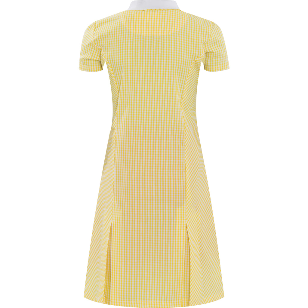 Yellow Zip Fronted Corded Gingham Summer Dress