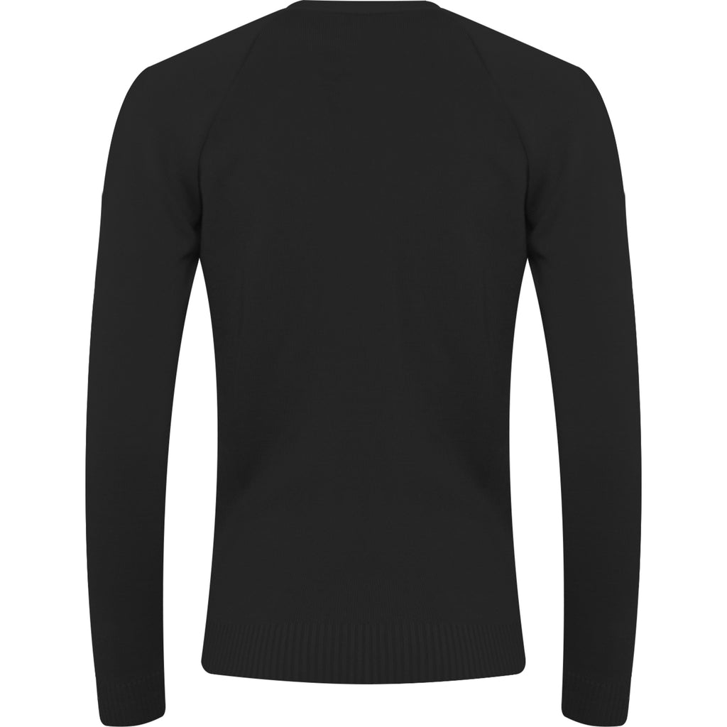 Black 50% Cotton / 50% Acrylic Plain Vneck