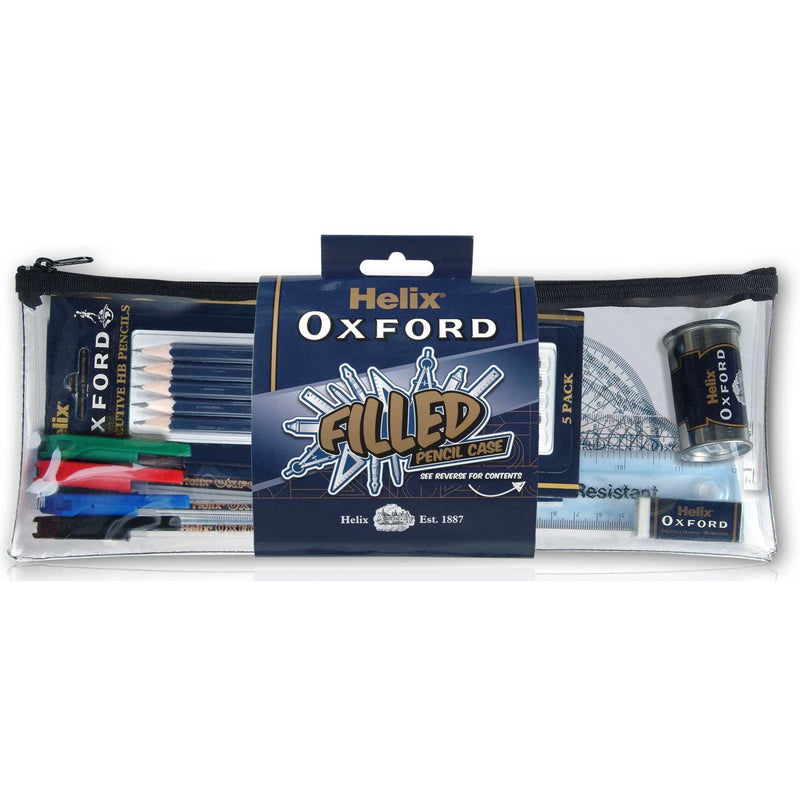 Helix Oxford Filled Pencil Case Clear
