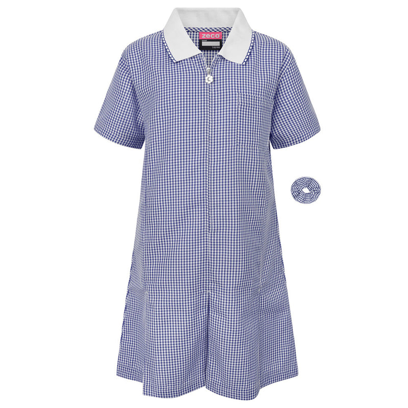Navy Zip Fronted Corded Gingham Summer Dress
