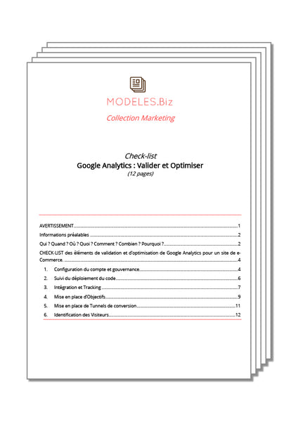 Check-list - Google Analytics - Modeles.biz