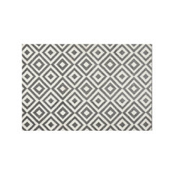 Geometric rug with grey and white