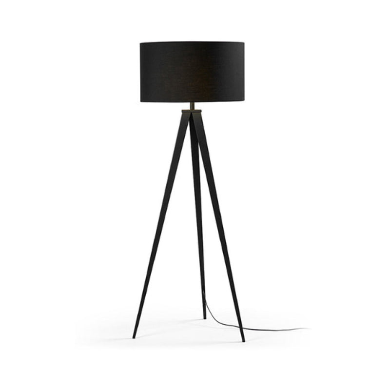 Tripod black metal floor lamp with black shade