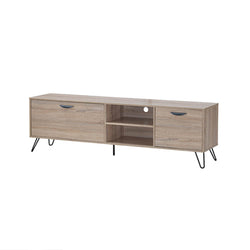 Oak wood effect media unit with black metal legs