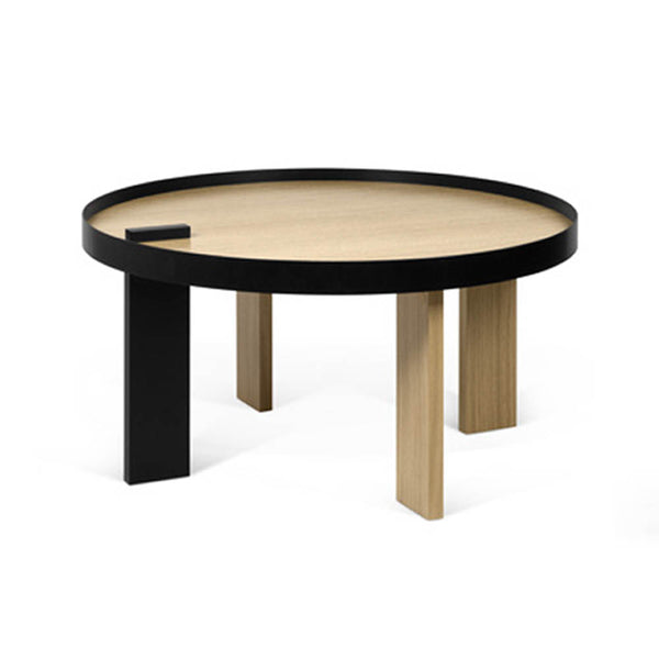 Oak veneer/black metal combination round coffee table