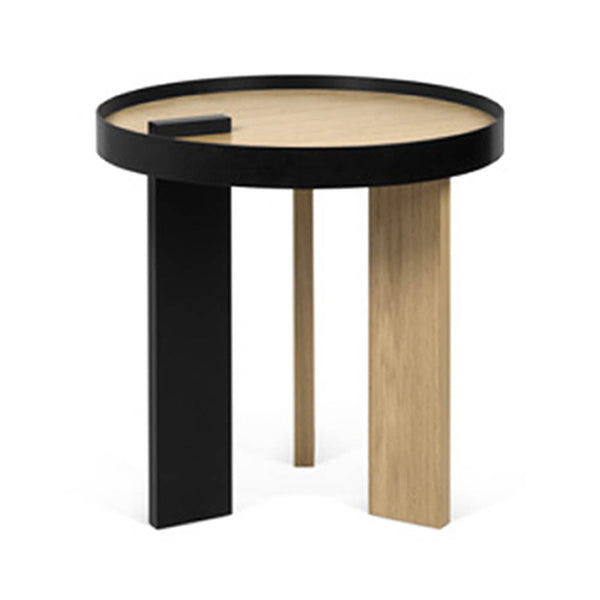 Oak veneer/black metal combination round side table