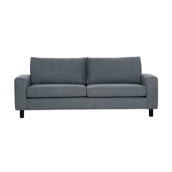 2 seater sofa in grey fabric and black legs