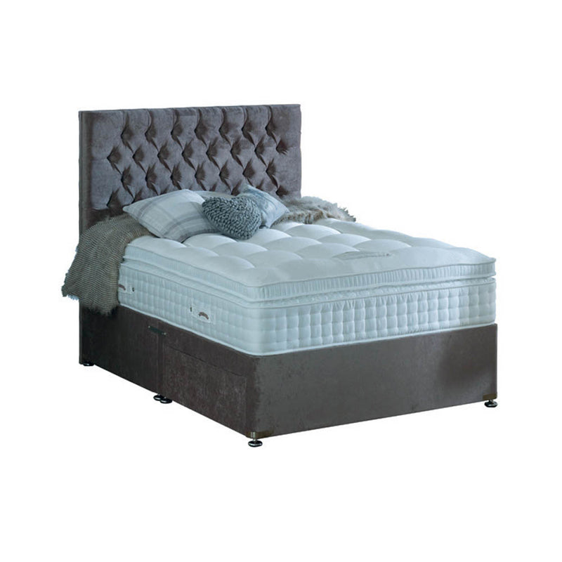 Bed frame with headboard with black feet and mattress