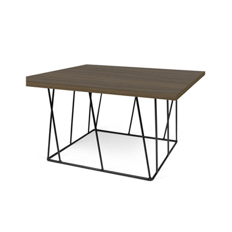 Wood top black metal base coffee table