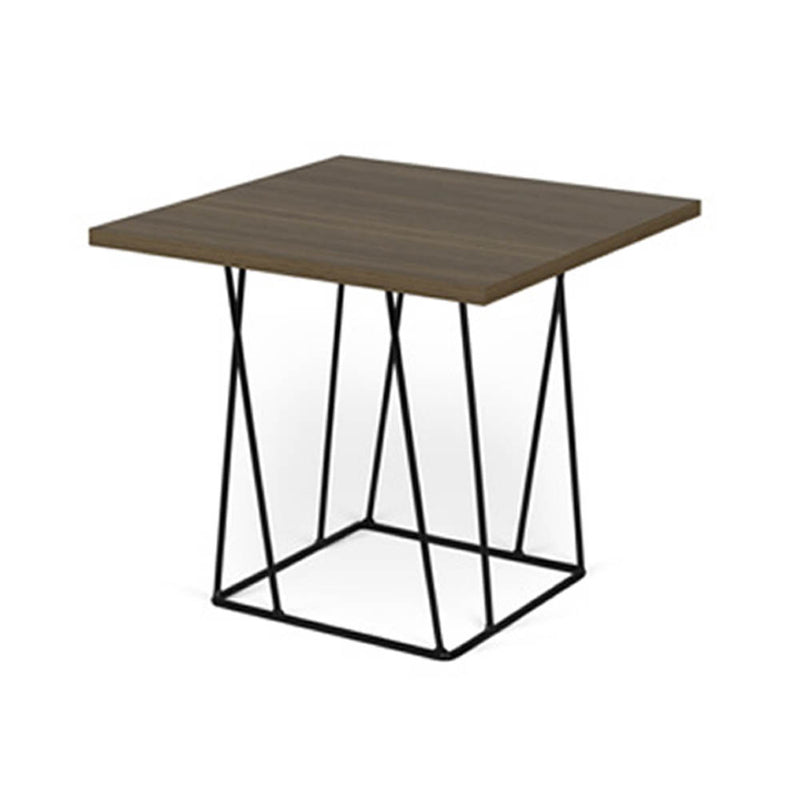 Wood top black metal base side table