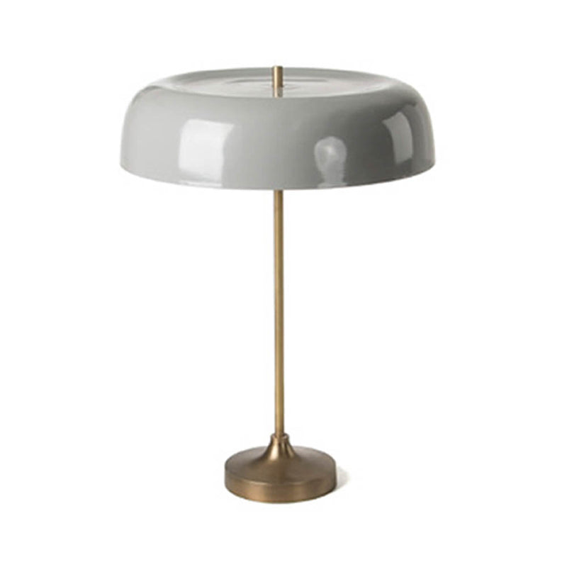 Brush brass and grey metal table lamp
