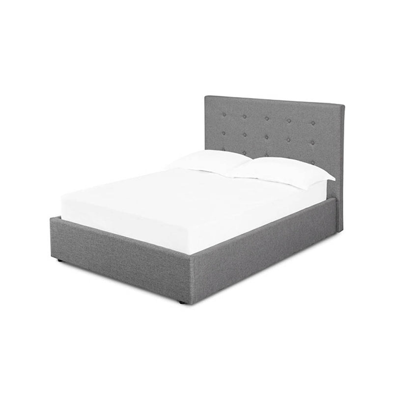 Charcoal grey fabric divan bed with plain headboard and mattress