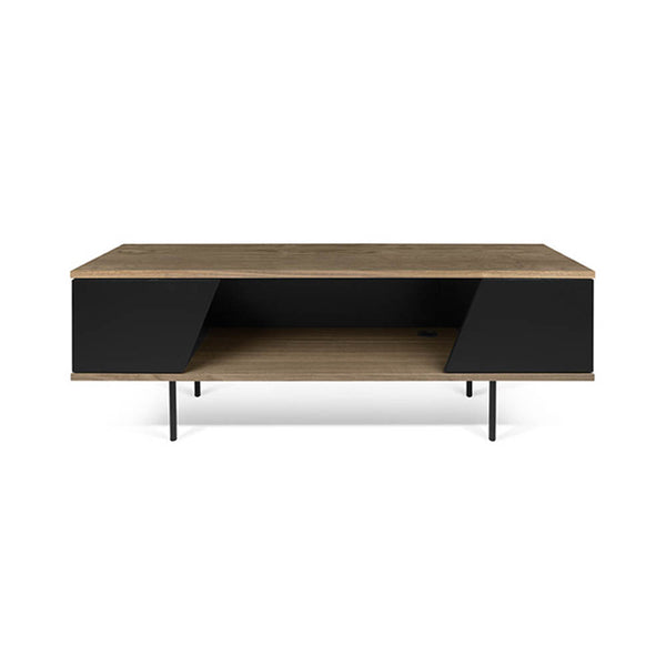 Wood and black veneer media unit