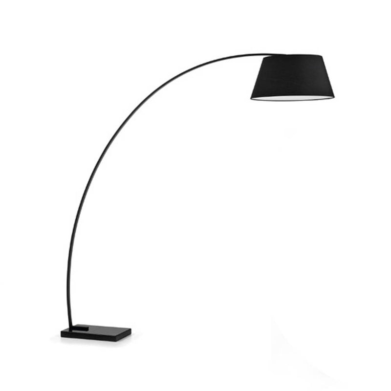 Black metal arc floor lamp with marble base
