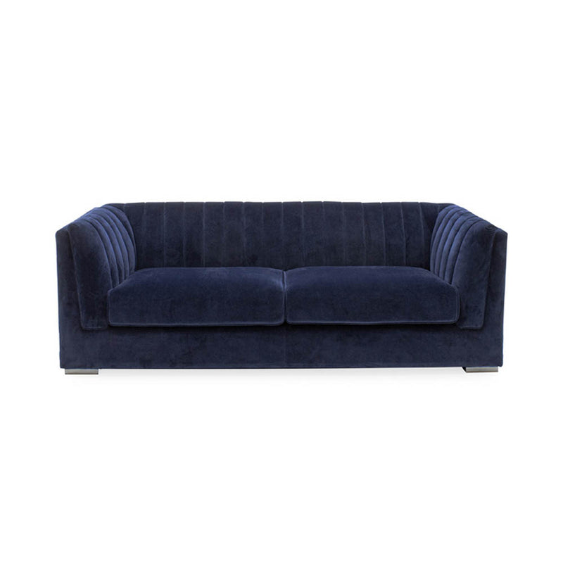 3 seater sofa in royal blue velvet and chrome legs