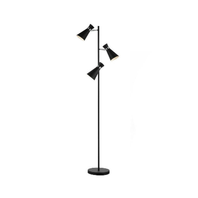 3 light floor lamp matt black & polished chrome