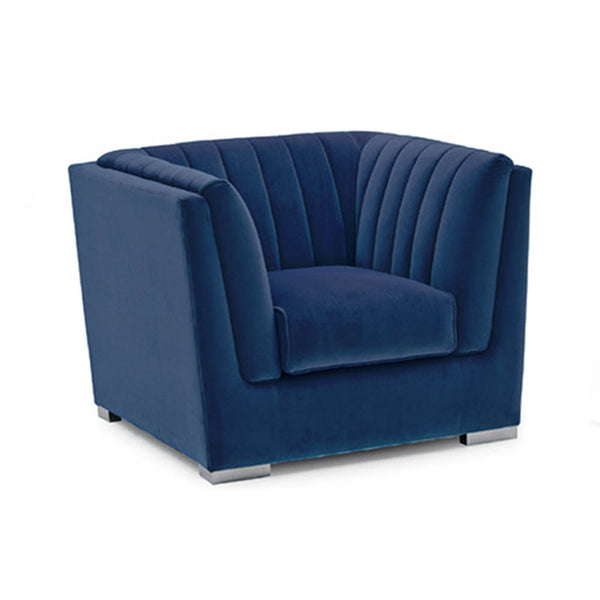 Armchair in royal blue velvet