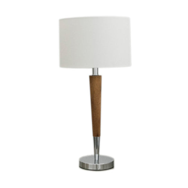 Cream and walnut on chrome table lamp