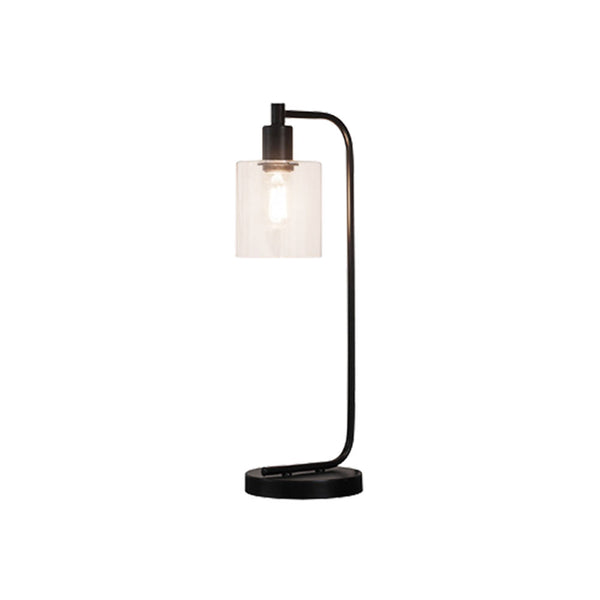 Black metal table lamp with glass shade