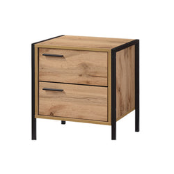Oak effect black metal frame bedside table
