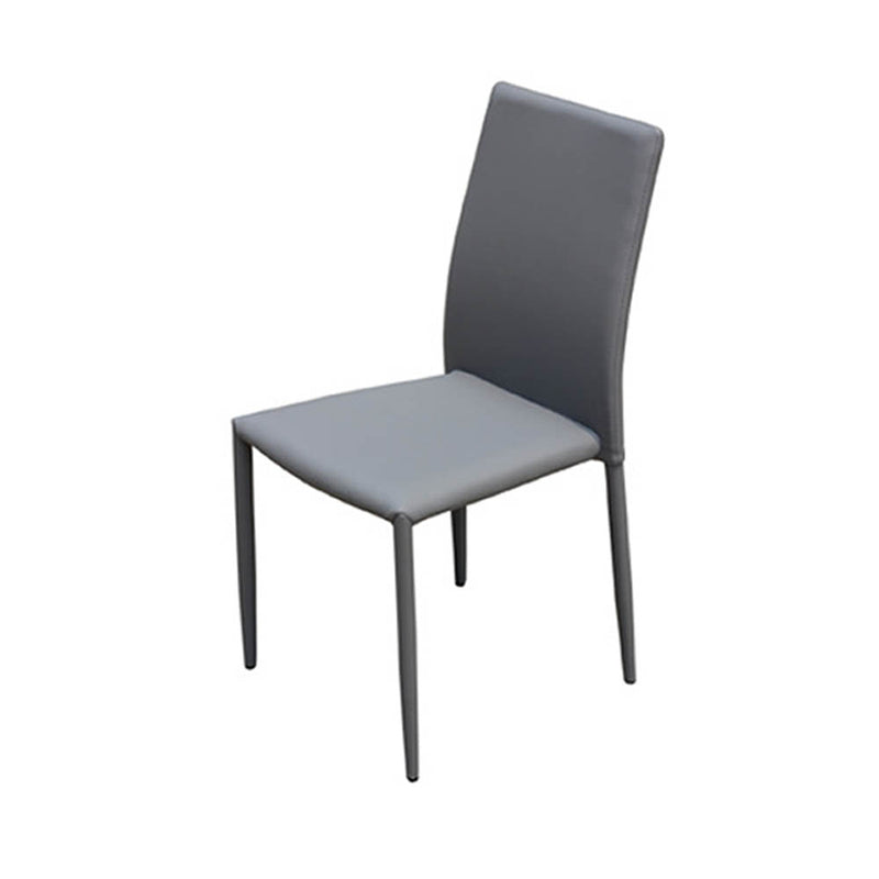 Grey PU leather dining chair