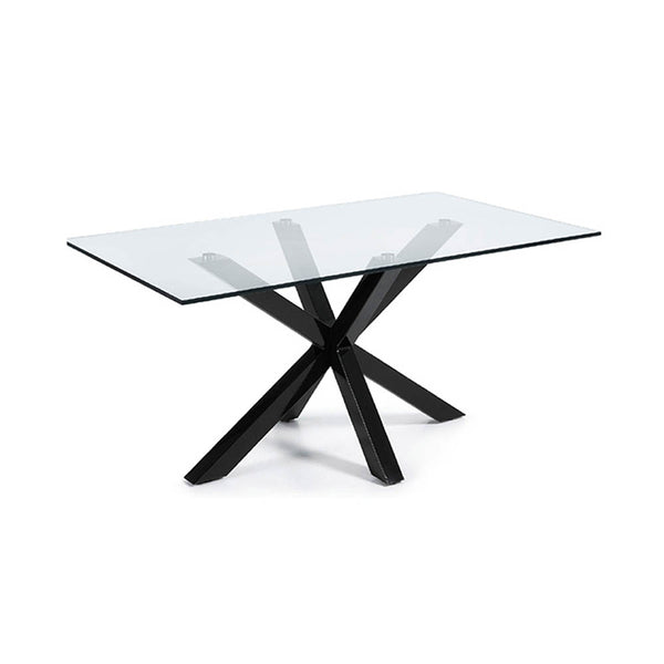 Glass top dining table with black glass legs