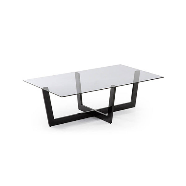 Coffee table with black glass legs and smoke glass top