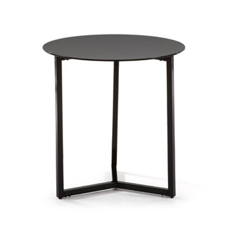 Round coffee side table with black glass top