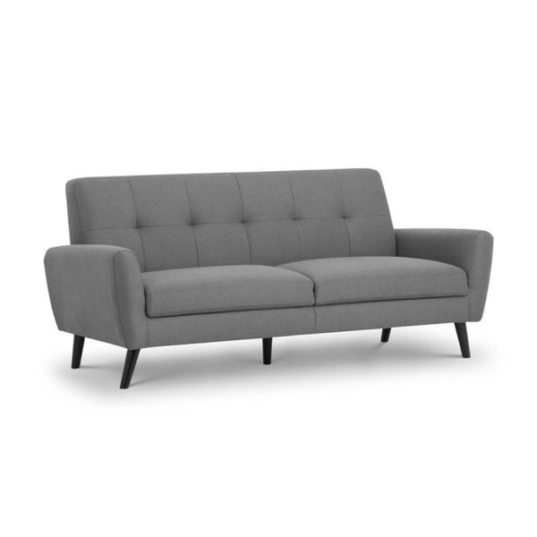 3 seater sofa in grey fabric with button back