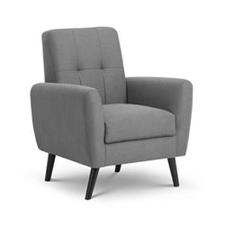 Grey linen armchair with button back