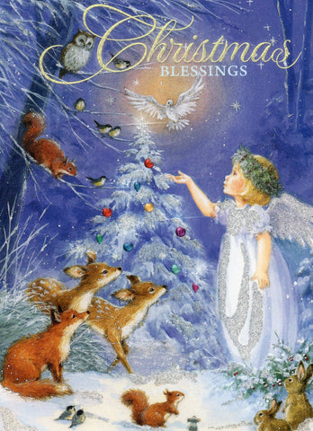 """Christmas Blessings"" Golden Angel Girl With Animals Snowing Christmas Tree Spar"