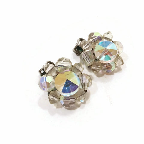 Vintage Clear Stones Flowery Clips Earring 1""