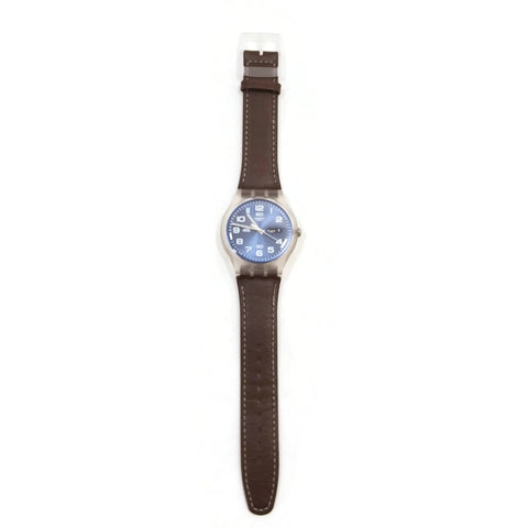 Windy Dune SWATCH Brown Leather Blue Numbers Date Unisex Hand Watch GE709
