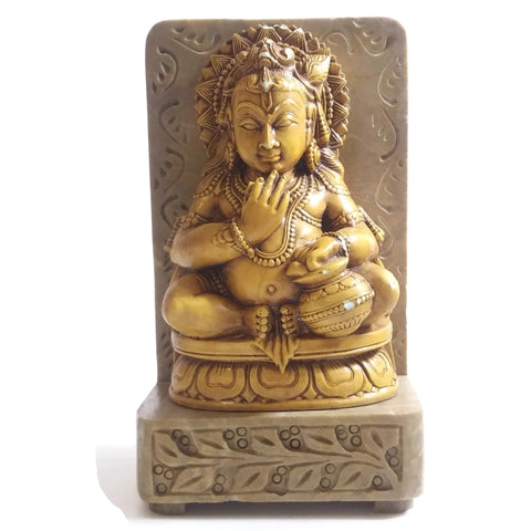 India God Bala Krishna The Butter Thief on Resin and Soapstone Base Statue Handm