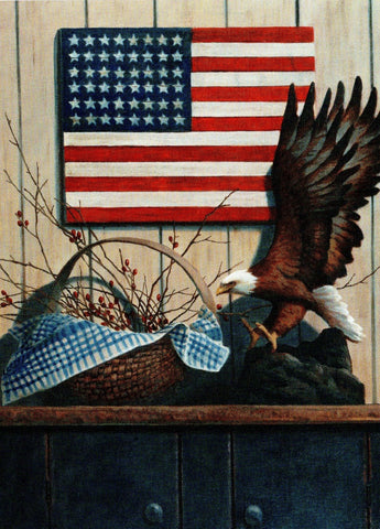 USA American Eagle and Flag Blank Art Note Greeting Card