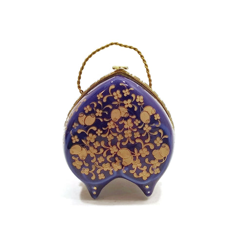 Vintage Art Jewelry Trinket Box Heart Shape W/ Legs Floral Chinese Blue/Gold