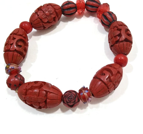 Handmade Red Wooden Beaded Vintage Women's Girls Bracelet Rose Glyph Jewelry