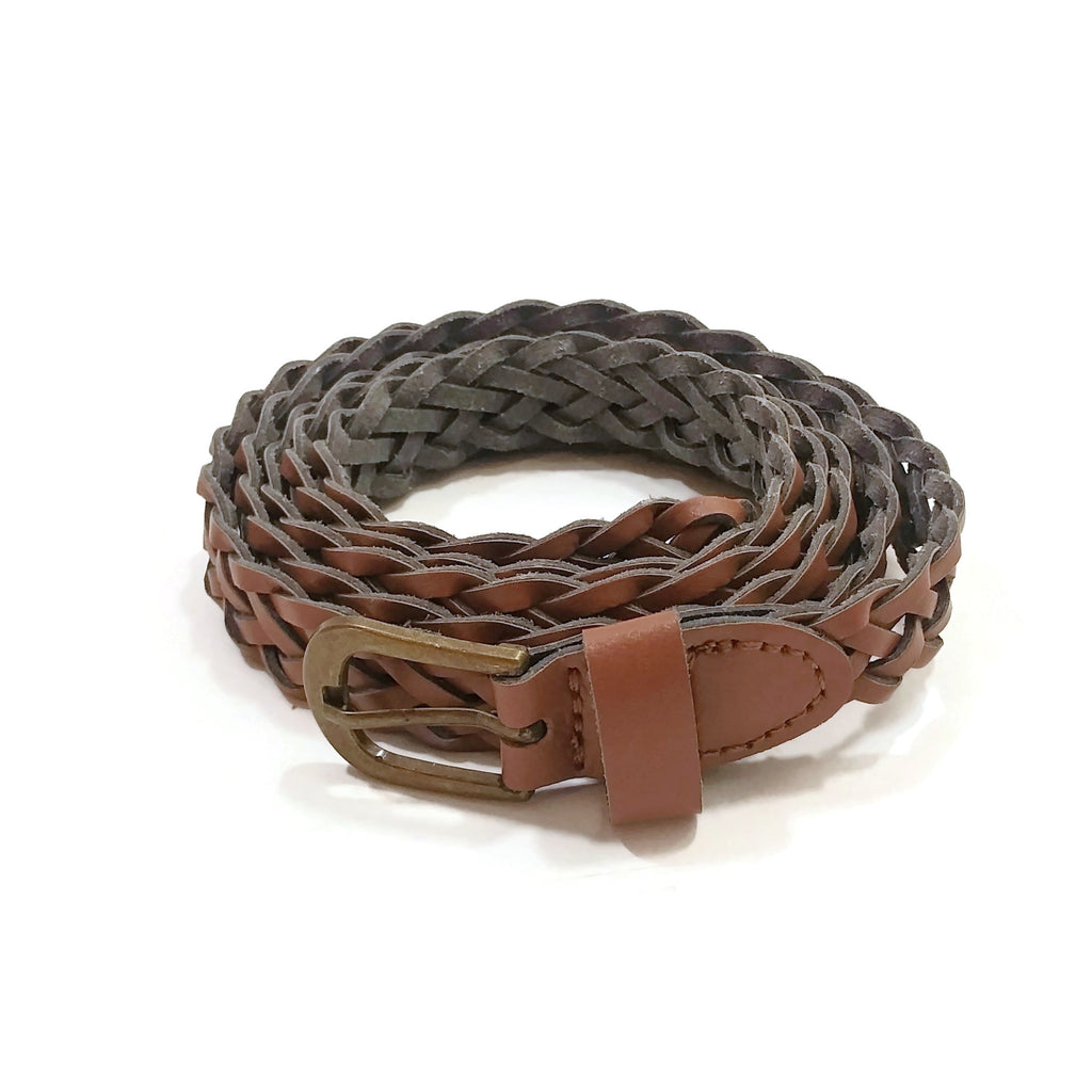 Handmade Brown Leather Women Fashion Belt Criss Cross Design XL 45.5 inches