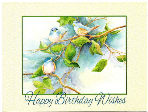 Happy Birthday Wishes Birds Art Painting Birthday Greeting Card