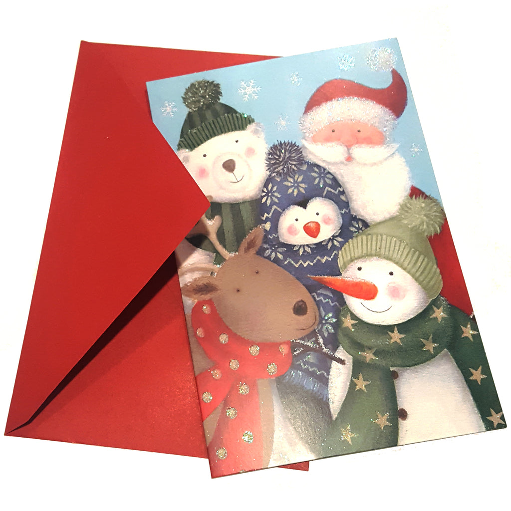 Christmas Greeting Card with envelope Santa Claus Moose Snowman