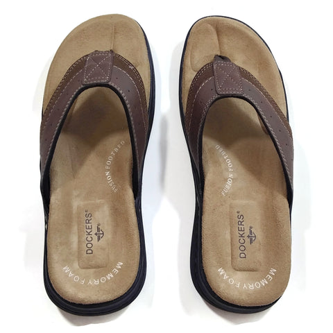 Dockers Men's Laguna Memory Foam Insole Flip Flop Sandals Brown 11 M US