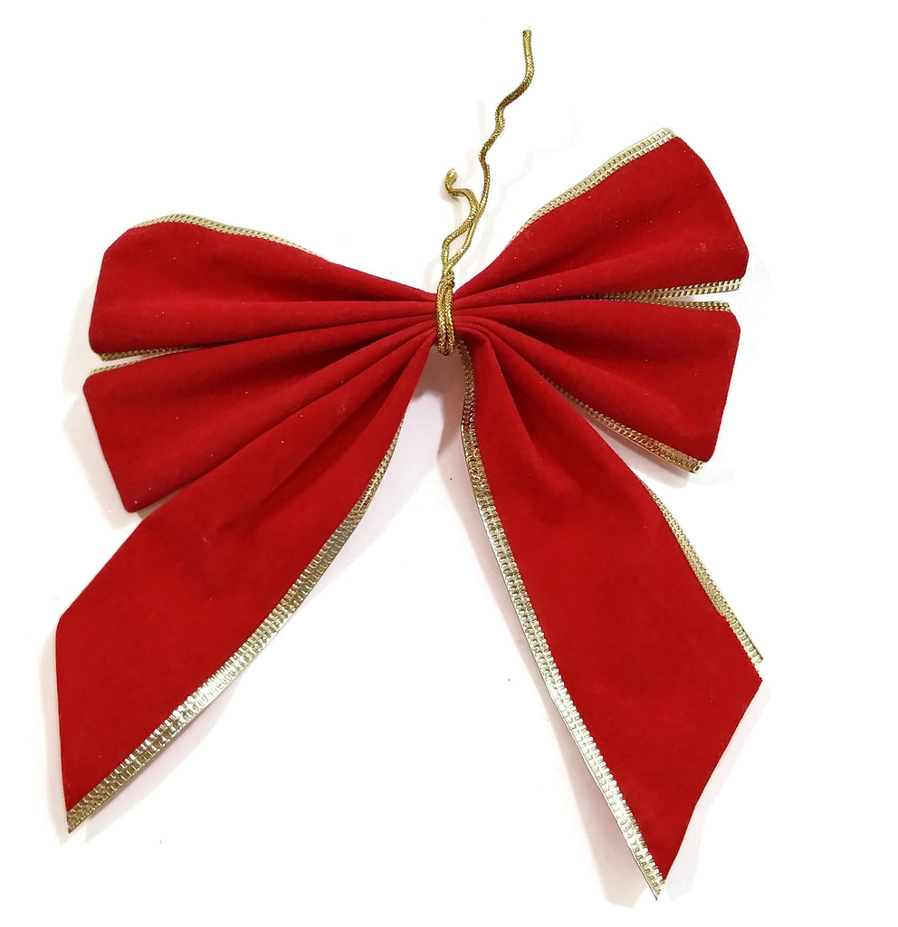 Red/Gold Velvet Christmas Ribbon Bow Christmas Tree Decoration Ornaments Holiday