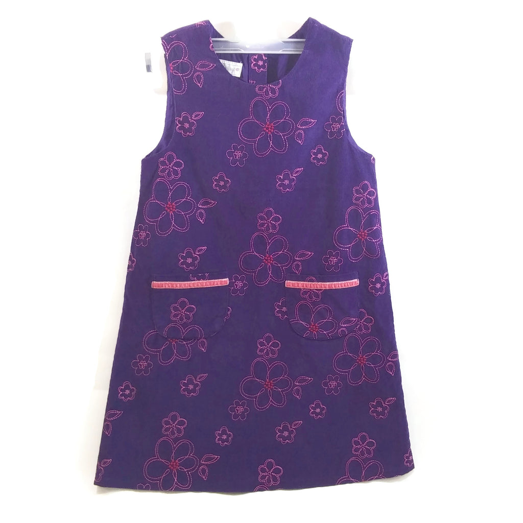 Samantha Says Girls Jumper Dress Purple with Pink Flowers Corduroy 6X